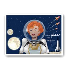 Cute astronaut girl against a starry sky vector
