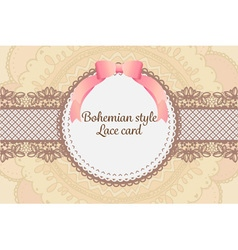 Cute elegant vintage bohemian lace card background vector