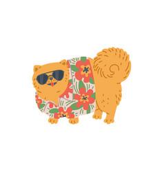 Cute fluffy dog in hawaiian shirt and goggles flat vector