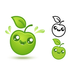 cute green apple vector image