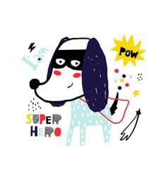 Cute hand drawn with ink dog super hero cartoon vector