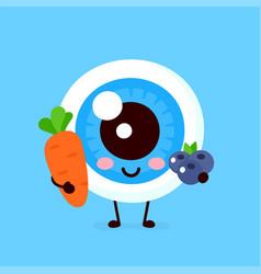 cute healthy happy human eyeball organ with carrot vector image