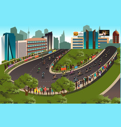 cycling competition with city in the background vector image