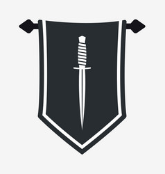 Dagger silhouette on hanging wall pennant vector