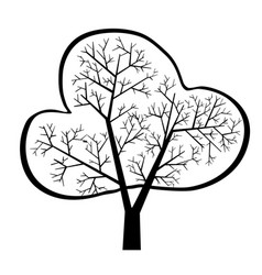 dark single silhouette shape a floral tree for vector image