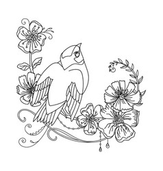 decorative bird with abstract flowers vector image