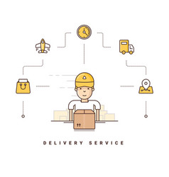 delivery service cartoon character packing boxes vector image