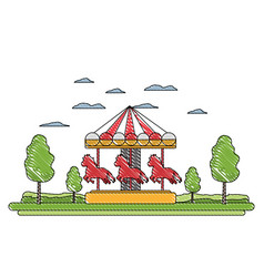 Doodle funny mechanical horse ride carnival vector
