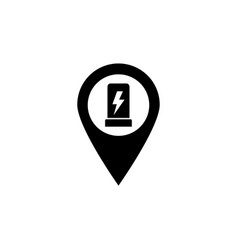Electric car charge station map pin flat vector
