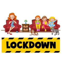 Family member lockdown at home vector