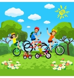 Family with kids concept of cycling in the park vector