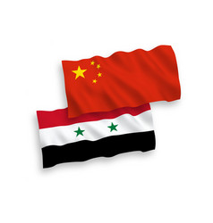 Flags syria and china on a white background vector