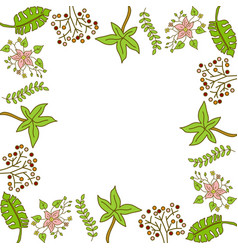 flower leaf frame empty template vector image