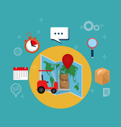 forklift with delivery service icons vector image