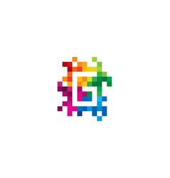G letter mosaic pixel logo icon design vector