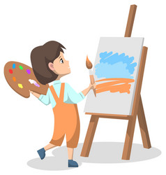 girl in art club standing with brush near easel vector image
