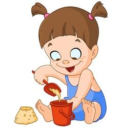 girl playing with sand vector image