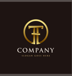 gold letter th logo icon letter ht logo icon vector image