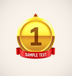 gold medal with red ribbon eps 10 vector image
