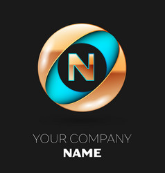 golden letter n logo symbol in blue-golden circle vector image