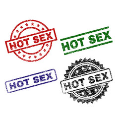 grunge textured hot sex seal stamps vector image