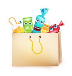 Halloween design with paper bag of candies vector