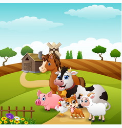 Happy animals in the farm hills vector