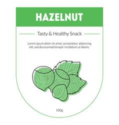 hazelnut organic nut packaging design label tasty vector image