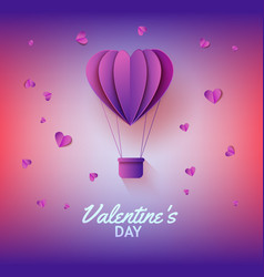 heart shaped hot air balloon in paper art on vector image