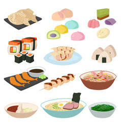 Japanese food sushi asian rice with fish vector