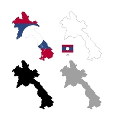 laos country black silhouette and with flag vector image