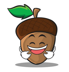 Laughing acorn cartoon character style vector