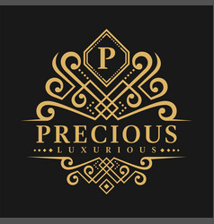 Letter p logo - classic luxurious style logo vector
