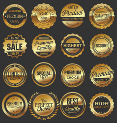 luxury quality golden badge retro collection 3 vector image
