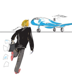 man rushing to plane vector image