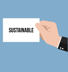 man showing paper sustainable text vector image