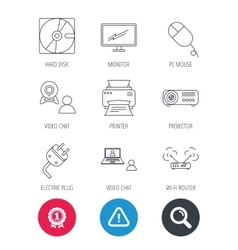 Monitor printer and wi-fi router icons vector