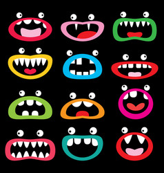 monster cartoon character icon set funny vector image