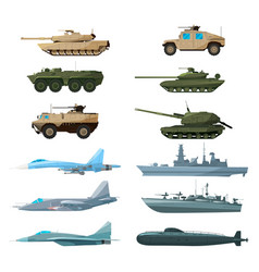 Naval vehicles airplanes and different warships vector
