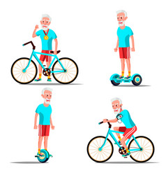 Old man riding hoverboard bicycle city vector