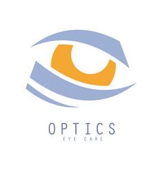 optics eye care logo hand drawn vector image