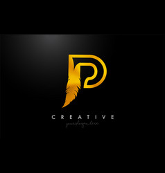 p golden gold feather letter logo icon design vector image