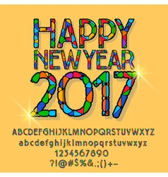 Patched shining happy new year 2017 greeting card vector
