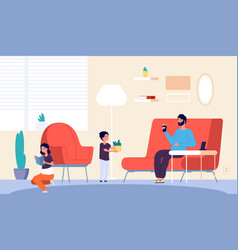 people at home father son daughter in living room vector image