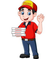 Pizza deliveryman showing ok sign vector