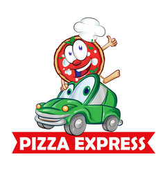 pizza express delivery car cartoon vector image