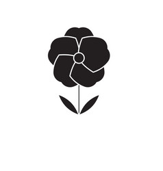 poppy flower black concept icon poppy vector image
