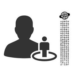 Portal moderator icon with job bonus vector