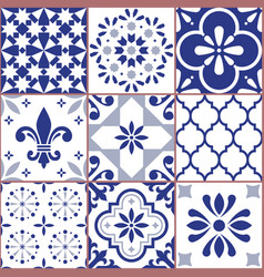 portuguese tile seamless pattern azluejo vector image