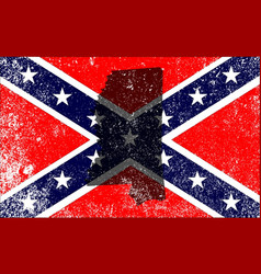 rebel civil war flag with mississippi map vector image